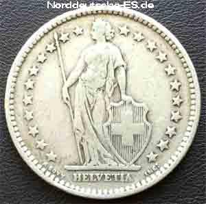 Helvetia 2 Franken Schweiz 1886 Silbermuenze