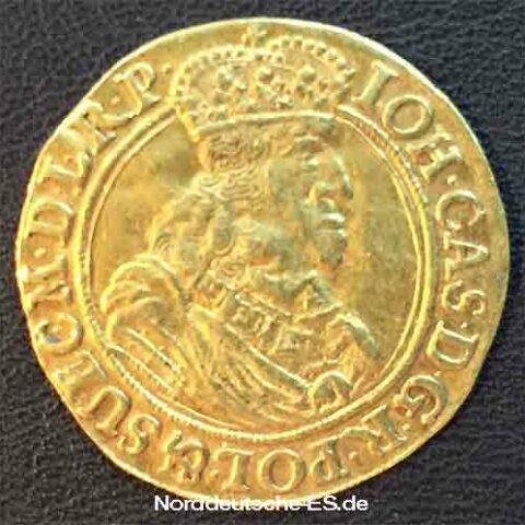 Danzig Stadt 1662 Koenig Kasimir Danziger Wappenschild Goldmuenze