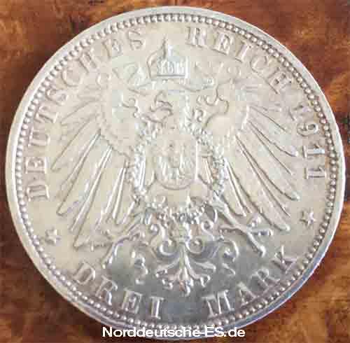 Deutsches Reich 3 Mark 1911 Luitpold Prinzregent von Bayern