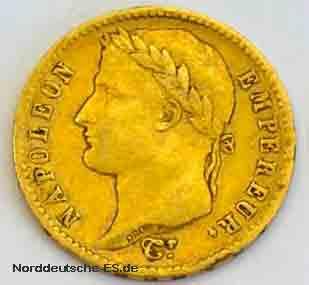 Frankreich 20 Francs Napoleon 1812 Goldmuenze