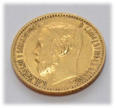 Russland-10-Rubel-Zar-Nikolaus Goldmuenze