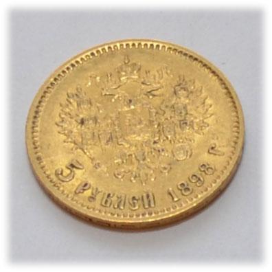 Russland-Zar-Nikolaus-5-Rubel-Goldmuenze-1898-