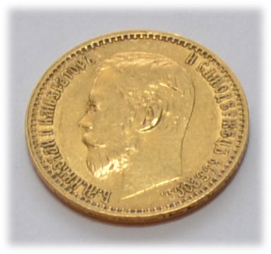 Russland 5 Rubel Zar Nikolaus II Goldmuenze
