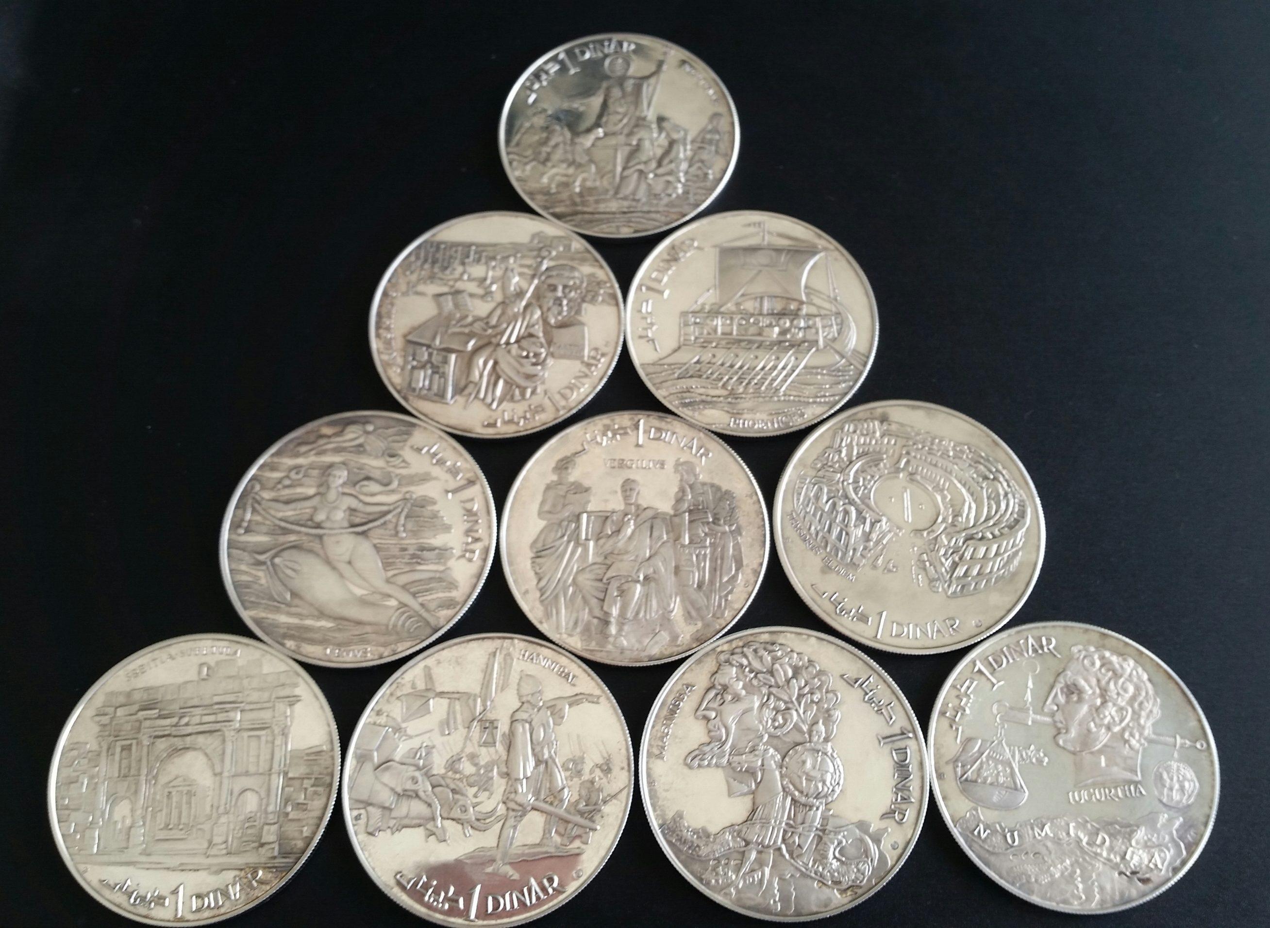 Tunesien 10 X 1 Dinar Muenzen 925 Silber Vollst Satz 1969 Nes