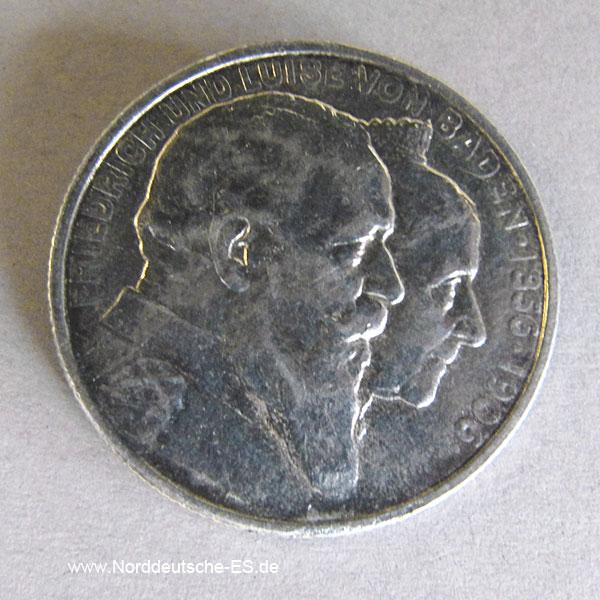 Deutsches Reich 2 Mark 1906 Friedrich u Luise von Baden Goldene Hochzeit