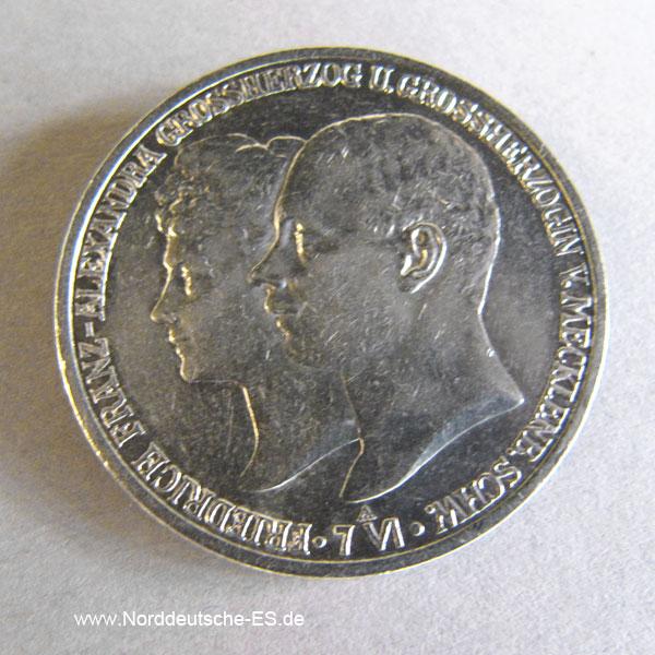 Deutsches Reich2 Mark Silbermünze 1904 Mecklenburg-Schwerin, Hochzeit Friedrich Franz und Alexandra