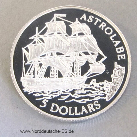 Cook Islands 5 Dollars Silber 1992 Astrolabe Silbermünze
