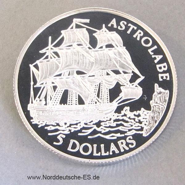 Cook Islands 5Dollars Silber 1992 Astrolabe Silbermünze
