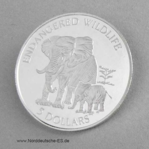 Cook Islands Silber 1995 Elefanten