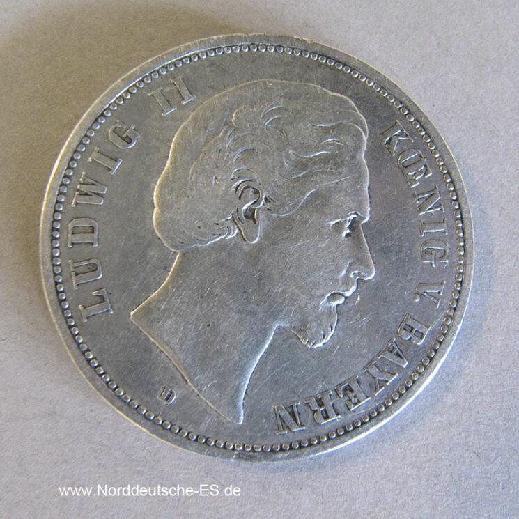 Deutsches Reich 5 Mark 1876 D Bayern König Ludwig II
