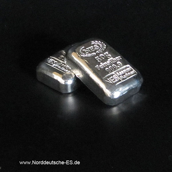 Norddeutsche ES 50g Silberbarren 999,9