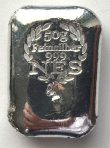 50g Silberbarren 999,9 Norddeutsche Edelmetall Scheideanstalt
