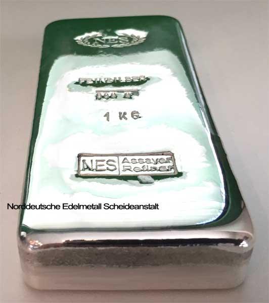 Silberbarren 1Kg Feinsilber 9999 Norddeutsche E.S. Essayer Refiner