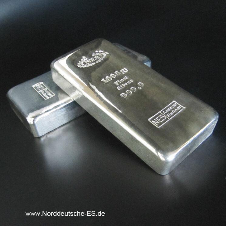 Silberbarren-Norddeutsche-ES-1000g-1-Kg -NEUWARE
