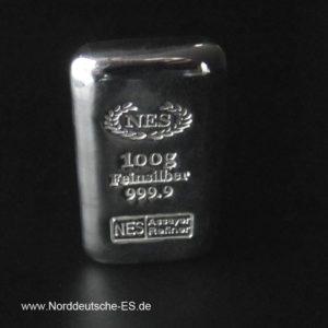 Norddeutsche ES 100g Silberbarren 9999 Gussbarren