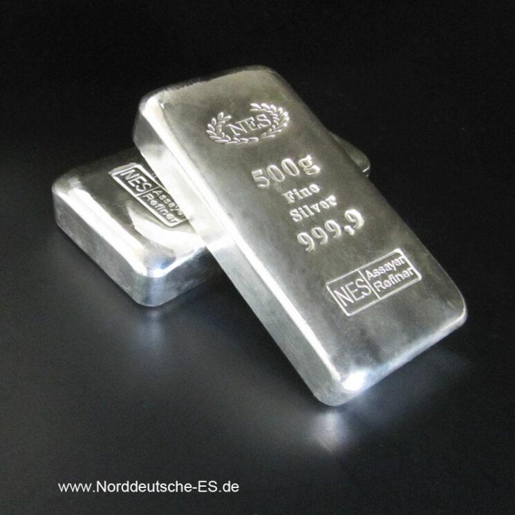 Silberbarren 500g Feinsilber 9999