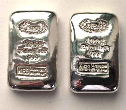 Norddeutsche ES Silberbarren 100g Feinsilber 999