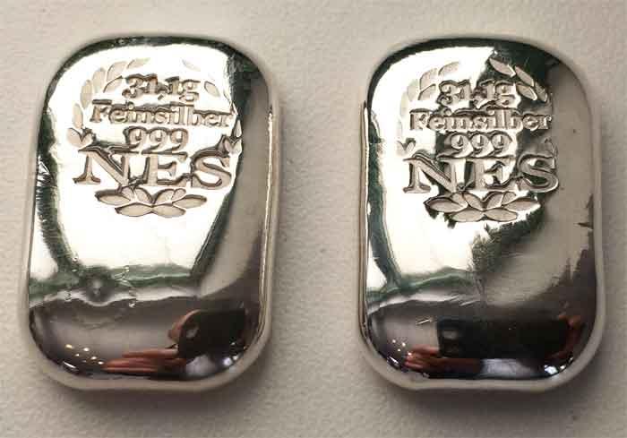 Norddeutsche 1 Unze Feinsilber 999,9 Silberbarren mit Zertifikat