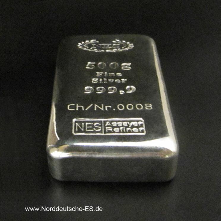 Silberbarren 500g Feinsilber 9999 Gussbarren