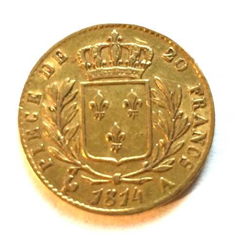 Frankreich-Piece-de-20-Francs-20-Francs-Louis-XVIII-1814 Goldmuenze