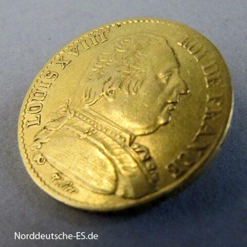 Frankreich Louis XVIII Piece de 20 Francs 1814 Goldmünze