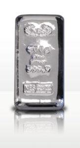 Silberbarren 500g Feinsilber 9999 norddeutsche es