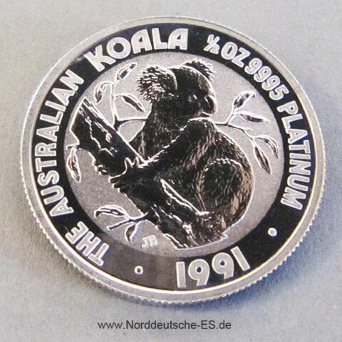 Australien Koala 1_2 oz Platinmünze 1991 Bullion Feinplatin 999_5