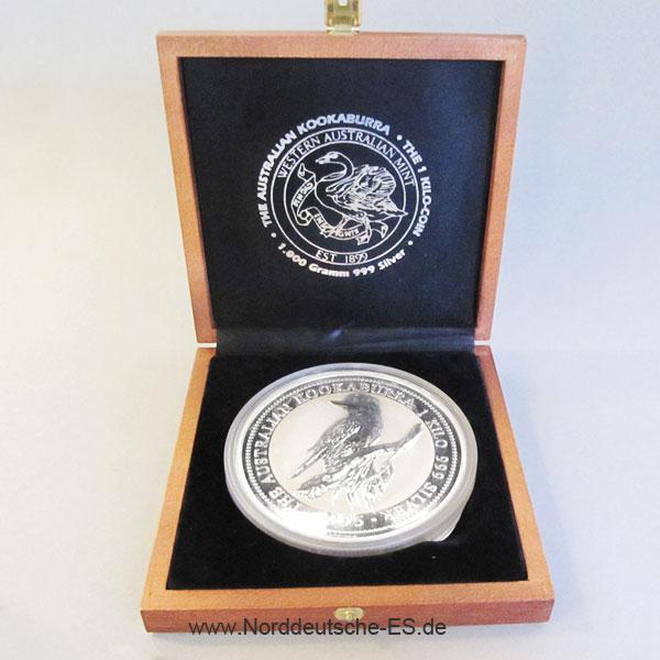 Australien Kookaburra 1 Kg Feinsilber 999 1995 Holzbox
