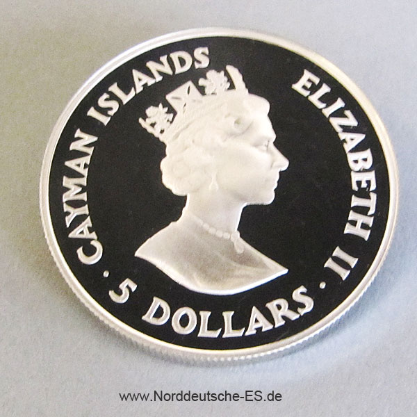 Cayman Islands 5 Dollar Silber Amazonas Papagei 1987 WWF 25 Jahre