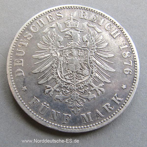 Deutsches Kaiserreich 5 Mark Silbermünze Kaiser Wilhelm I 1874 1876