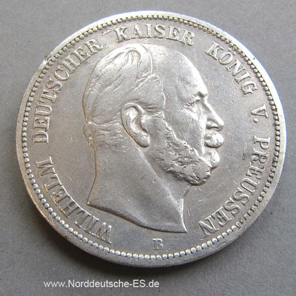 Deutsches Reich 5 Mark Silbermünze Kaiser Wilhelm I 1874-1876