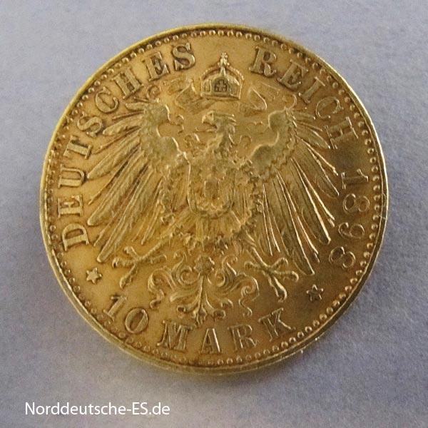 Deutsches Reich 10 Mark Gold 1898 Albert I historisches Original