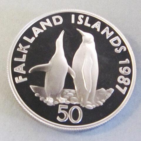 Falklandinseln 50 Pence Silbermünze Königspinguine 1987 25 Jahre WWF