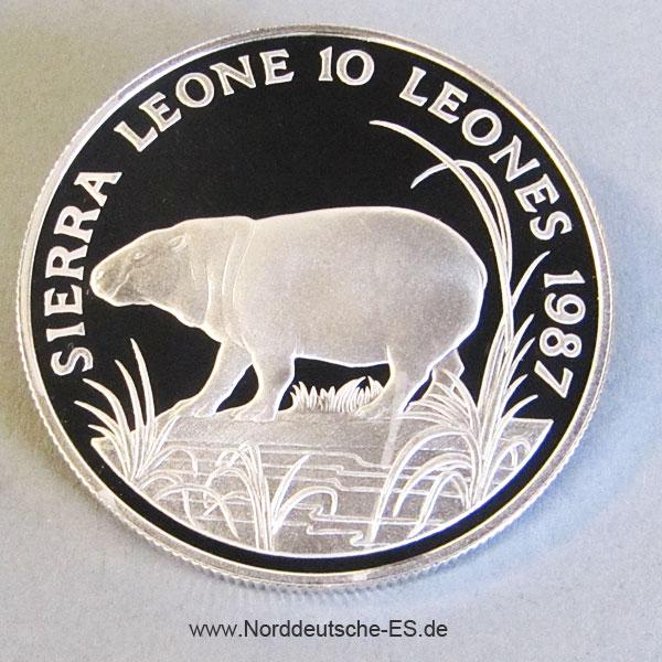 Sierra Leone 10 Leones Silber Zwergflusspferd 1987 WWF 25 Jahre