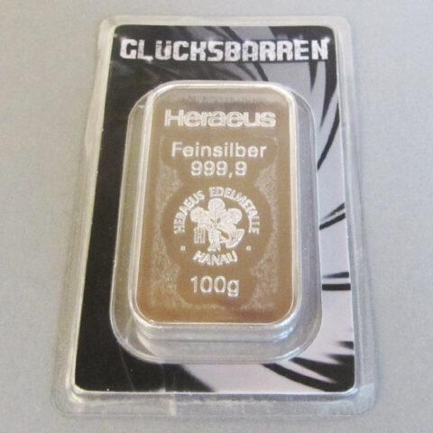 Silberbarren-100g-Feinsilber-999-Konfirmationsgeschenk-Heraeus-Glücksbarren