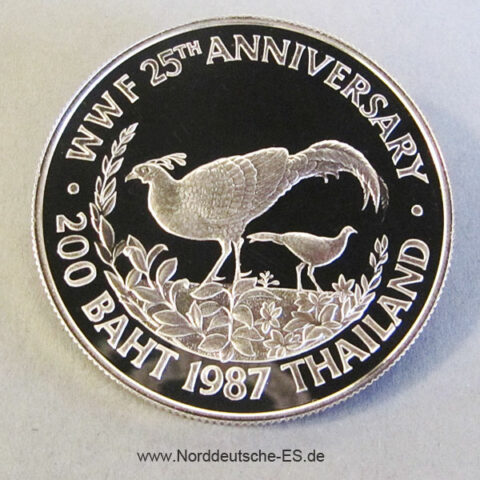 Thailand 200 Baht Silber Fasan 1987 WWF 25 Jahre