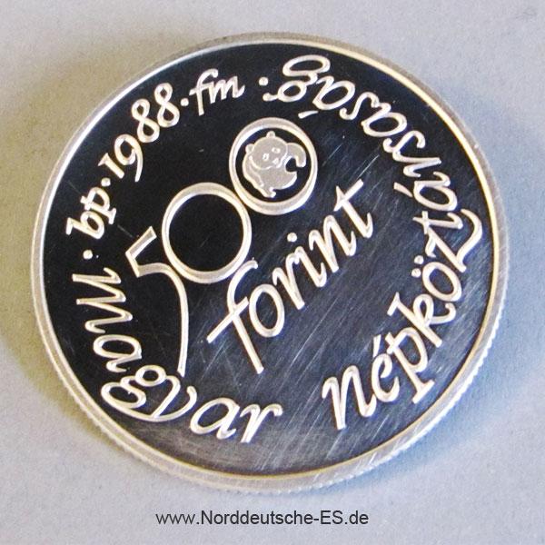 Ungarn 500 Forint 1988 Silber Wiesenweihe - 25 Jahre WWF