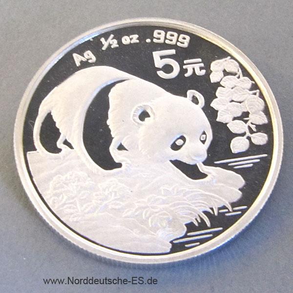 China Panda 5 Yuan 1/2 oz Silbermünze 1994