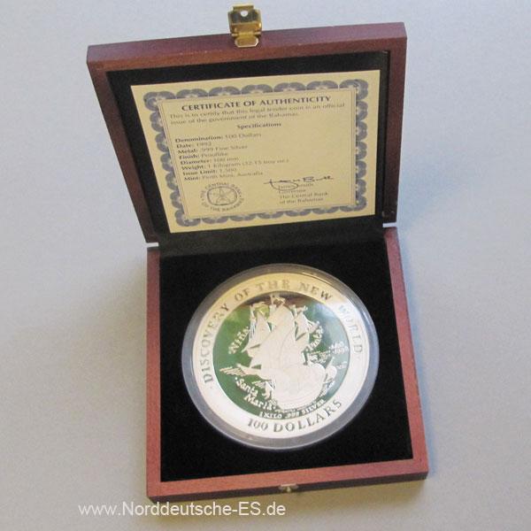Bahamas 100 Dollars Silber 1kg 1992 Segelschiff Holzbox.jpg