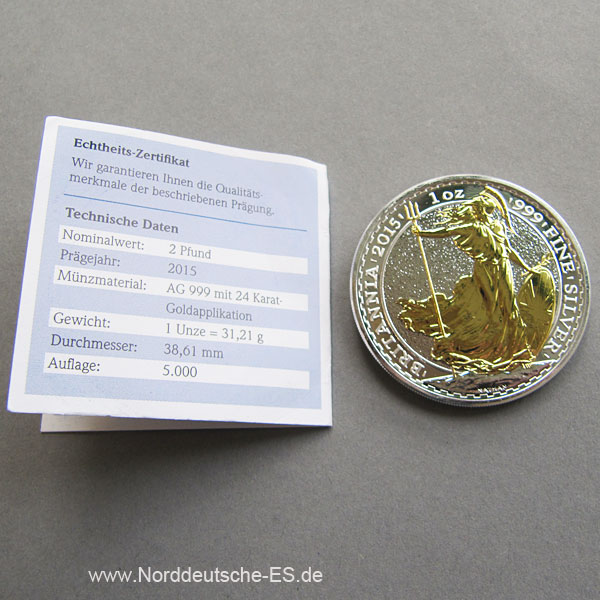 England Britannia 1oz Feinsilber goldapplikation 2 pfund 2015