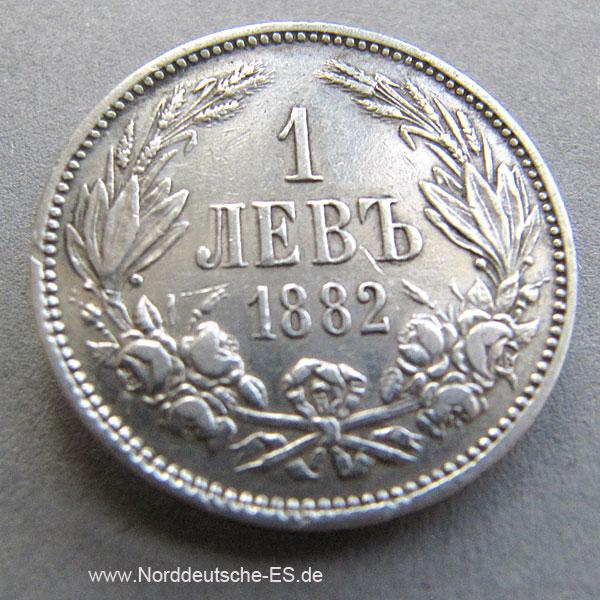 Bulgarien 1 Lew 1882 Silbermünze Alexander I