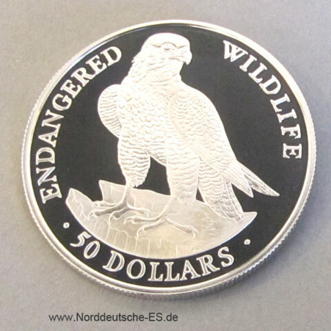Cook Islands 50 Dollars Silber 1991 Endangered Wildlife Falke