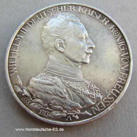 Deutsches Reich Drei Mark Wilhelm II Preussen 1913 Silbermünze