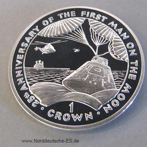 Gibraltar 1 Crown 25 Jahre Mondlandung 1994 Silber