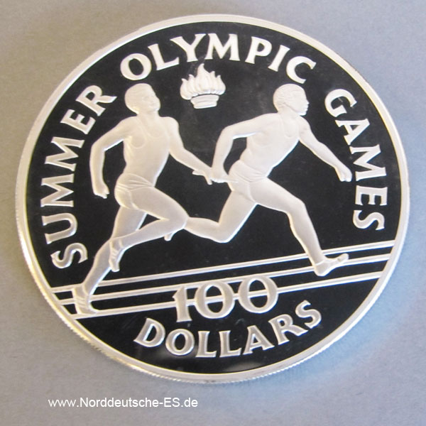 Jamaica 100 Dollars 1988 Summer Olympic Games Silber