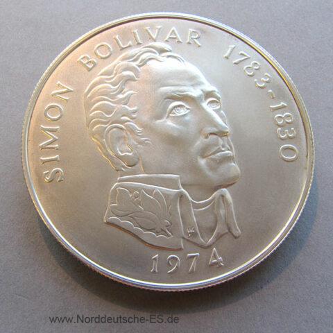 Panama 20 Balboas Silbermünze 1974 Simon Bolivar