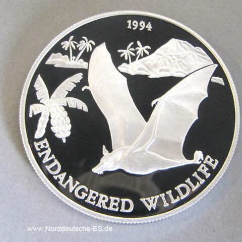 Samoa i Sisifo 10 Tala Silbermünze 1994 Endangered Wildlife Samoa Flughund