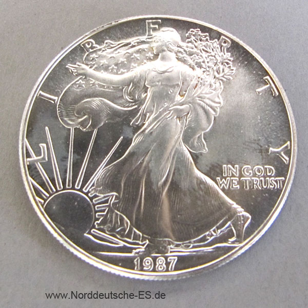 Usa One Dollar American Eagle 1 Oz Feinsilber 999 Liberty