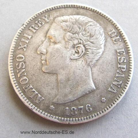Spanien 5 Pesetas 1876 ALFONSO XII Silbermünze