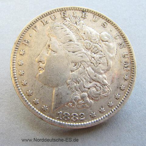 USA One Dollar 1882 Morgan Dollar Silbermünze